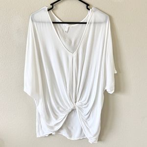 Leith White Knotted Front Blouse Large